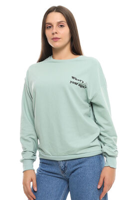 Cazador - CDR 7679 WHAT YOUR SİGN SWEATERS MINT YESILI